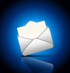Иконка письма на синем фоне