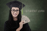Female graduate student get money for loan