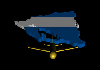 Plane taking off from Nicaragua map flag illustration
