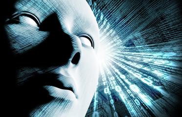 Código binario y cara. Concepto de internet e identidad