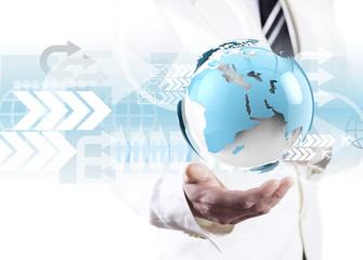 Concepto de negocio global. Mapa del mundo y  tecnología