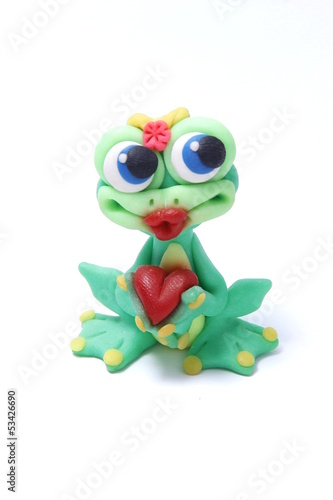 Frog with Heart on a white background