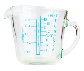 Empty measuring cup isolated on white