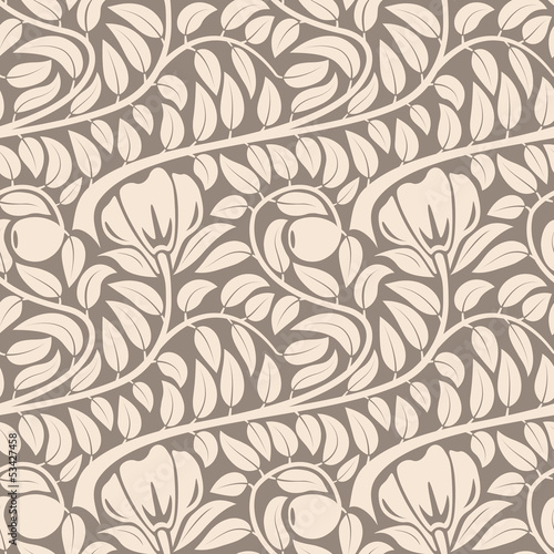 Seamless light beige floral vintage vector pattern.