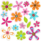 Vector Set of Mod or Retro Flower and Leaves