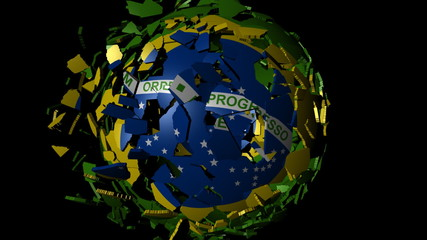 Brazil flag sphere combining and breaking apart animation