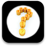 Glossy icon with Question mark in the form of gold coins poster