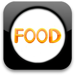 "Glossy icon with text ""Food"""