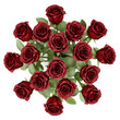 top view bouquet of red roses in vase isolated on white backgrou