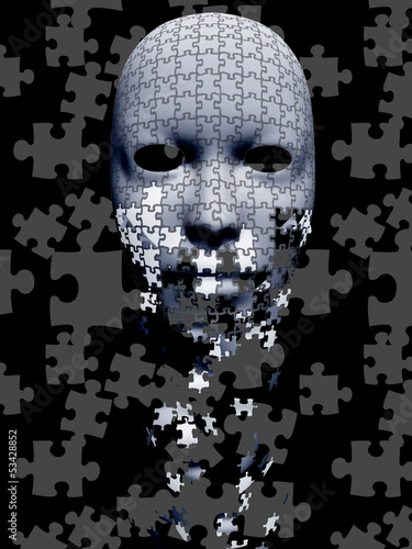 Puzzle falling mask composition