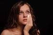 Sad woman close up portrait