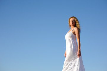 beauty woman in white dress