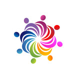 Teamwork colorful people logo vector