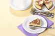 top view chocolate cheesecake with fork