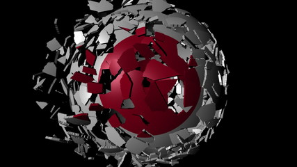 Japan flag sphere combining and breaking apart animation