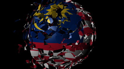 Malaysia flag sphere combining and breaking apart animation
