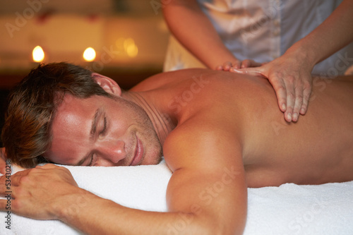 Man Having Massage In Spa
