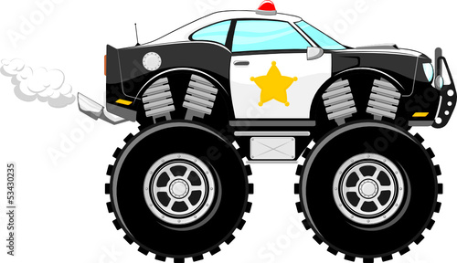 4x4 monstertruck police car cartoon