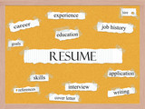 Resume Corkboard Word Concept