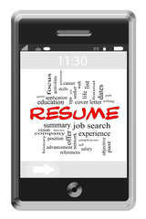 Resume Word Cloud Concept on Touchscreen Phone