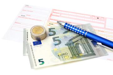 Euro bank transfer with  money, slip, pen