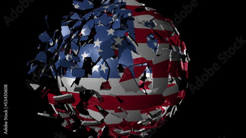 American flag sphere combining and breaking apart animation