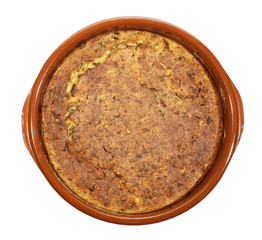 Proja or projara traditional corn bread in clay dish