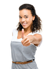 Beautiful mixed race Woman smiling thumbs up isolated on white b