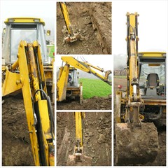 Excavator on construction site collage