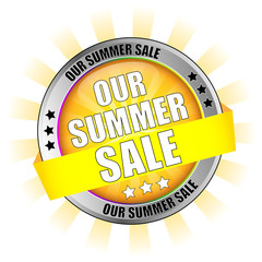 Icon Button Our Summer Sale with Sun Background