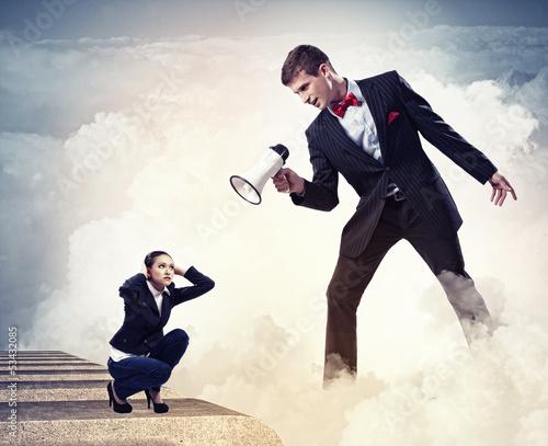 Businessman with megaphone