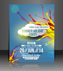 Summer holiday party flyer, vector