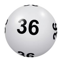 Loto, boule blanche numéro 36