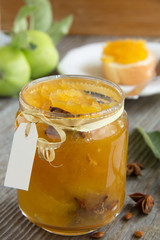 Apple jam with spices, cinnamon and Dittany
