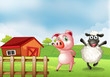 A farm with a pig and a sheep