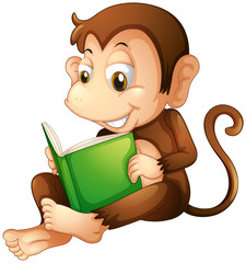 A monkey sitting while reading a book