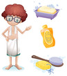A boy with a soap, shampoo, brush and sponge