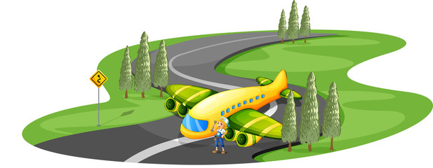 An airplane at the road beside the young girl