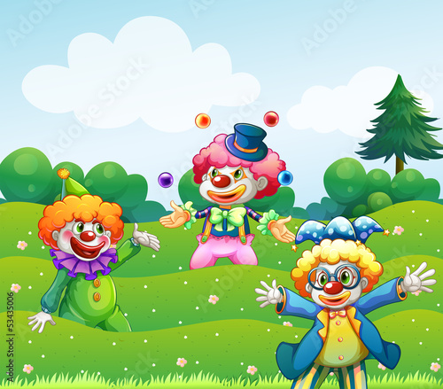Three clowns at the garden