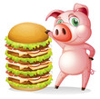 A fat pig beside the giant hamburger