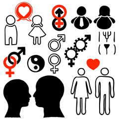 People in heterosexual relationships design icons