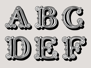 Retro vintage illustration of alphabet letters