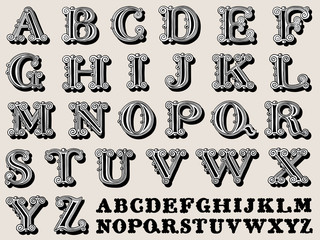 Retro illustration of a complete antiqua alphabet