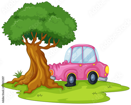 A pink car bumping the giant tree