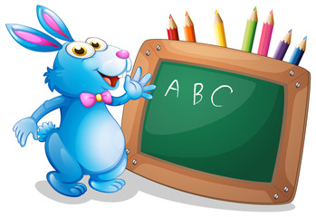 A bunny in front of a chalkboard with pencils at the back