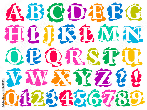 Colour doodle splash alphabet letters and digits