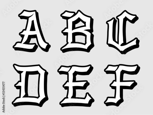 Vector illustration of Gothic alphabet letters