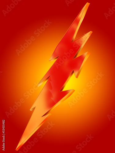 Lightning icon on orange background