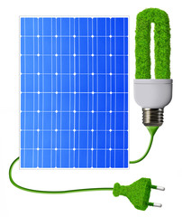 eco energy bulb with solar panels isolated on white