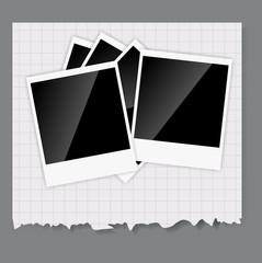 Camera, photos frame vector illustration